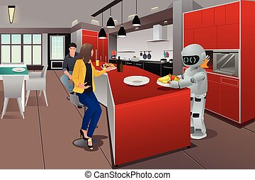 Robot serving breakfast - A vector illustration of a robot...