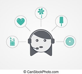 Vector modern support woman with sample icon on white...