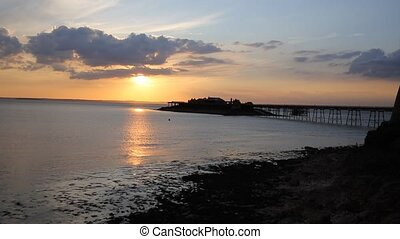 Sunset English Victorian pier Birnbeck Weston-Super-Mare...