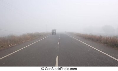 Driving on an empty road