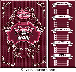 template for the cover of the menu - bordo vector template...