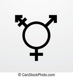 Vector modern transgender symbol on white background. type...
