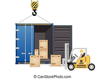 container_forklift - Illustrator of forklift and cargo...