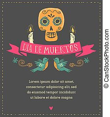 print - mexican skull, day of the dead - print - mexican...