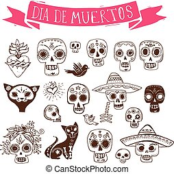 doodles, mexican skull set, day of the dead - hand drawn...