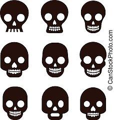 skull set, Mexican day of the dead - Black skull set,...