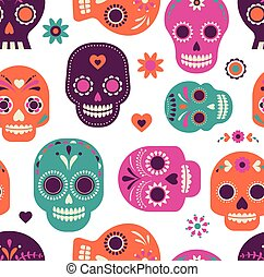 skull pattern, Mexican day of the dead - colorful skull cute...
