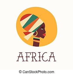 African woman icon and illustration