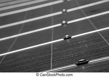 Solar Panel up Close - A low angle view in black and white...