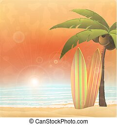 Vacation in paradise - surfing at tropical beach.