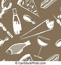 Cute seamless pattern with fast food Vector Eps 10