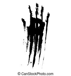 Black smeared handprint on  white background