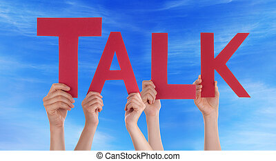 Hands Holding Red Straight Word Talk Blue Sky - Many...