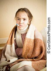 Retrato, de, doente, menina, com, varicela, medindo,...