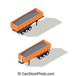 Semitrailer tipper detailed isometric icons set vector...