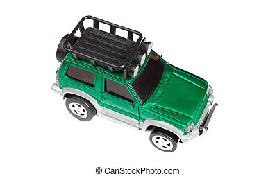 Green toy car on a over white background