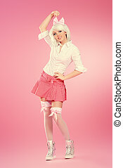 japanese heroine - Full length portrait of a cute teen girl...