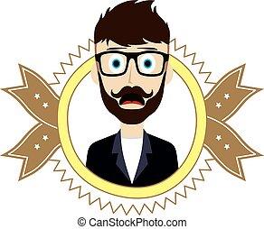 geek retro guy - geek male cartoon theme vector art...