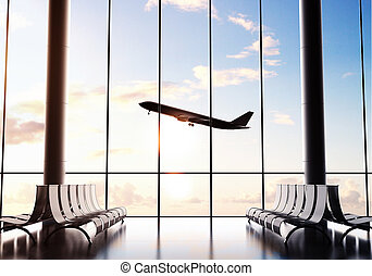 airliner - futuristic airport and big airliner in window
