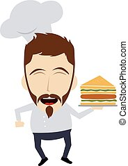 master chef cartoon character theme vector art illustration