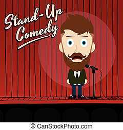 hilarious guy stand up comedian cartoon - male stand up...