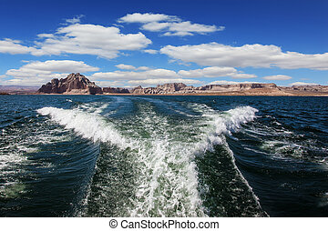 Trace of motor boats - Lake Powell on the Colorado River...
