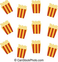 pop corn pattern set theme vector art illustration