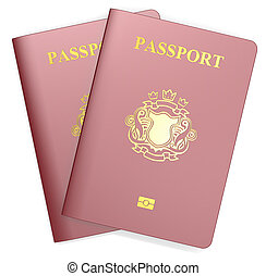 Passports - Two Red Passports Non-Country golden Blazon