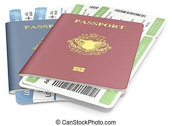 Passports and tickets - Red and Blue Passports and Boarding...
