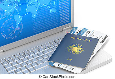 Online Travel - Laptop of brushed steel with Blue Passport...