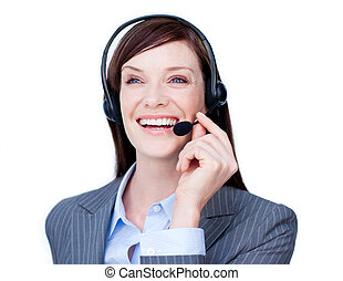 Laughing customer service agent with headset on