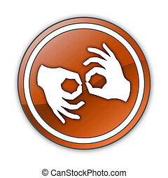 Icon, Button, Pictogram Sign Language - Icon, Button,...
