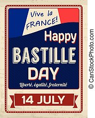 Happy Bastille Day poster in vintage style, vector...