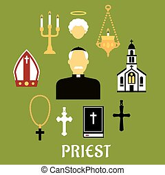 Priest with other religious icons, flat style - Priest...