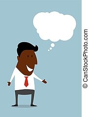 Happy black businessman with speech bubble - Successful...