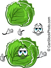 Green cabbage cartoon character with thumb up - Spring fresh...