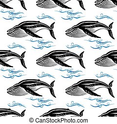 Big swimming cachalots seamless pattern