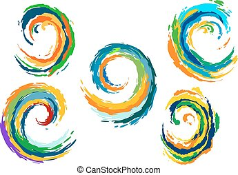 Abstract colorful sea waves swirls - Colorful sea waves...