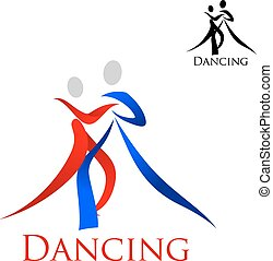 Sports emblem with dancing people silhouettes - Dance...