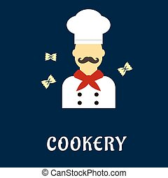 Cookery flat concept with mustached chef in uniform