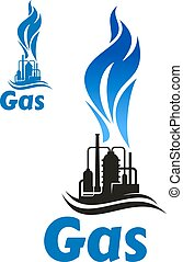 Industrial plant with natural gas flame - Black silhouette...