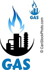 Natural gas factory complex with blue flame - Natural gas...