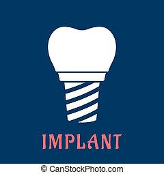 Dental implant with replacement crown - White silhouette of...