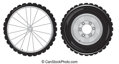Two travell about - Wheel of the car and bicycleVector...