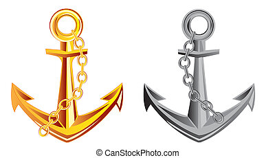 Two anchors - Anchor from gild and metal on white background...
