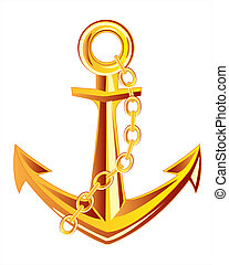 Anchor from gild - Ship anchor from gild on white background...