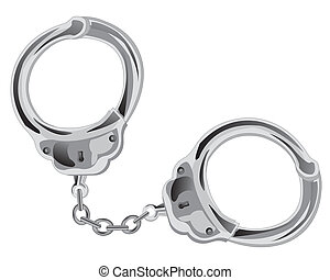 Manacles on chain on white background is insulated