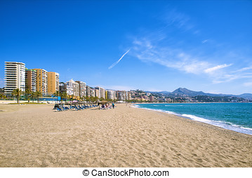 Malagueta Beach in Malaga, andalusia, Spain.