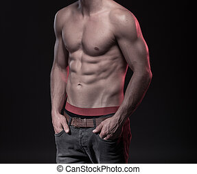 perfect male body with sixpack fitness model