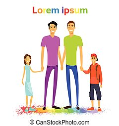 Same Couple Gay Man Family with Kids Colorful Vector...